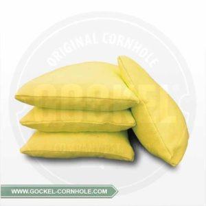 Set von 4 gelben Cornhole-Säckchen, mit Maiskörnern gefüllt!