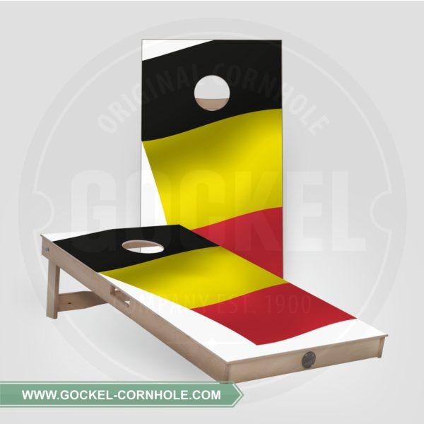 2 Cornhole Boards mit belgischer Flagge print für jede Party!