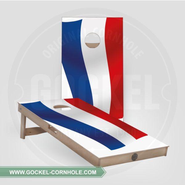 2 Cornhole Boards mit Niederländische Flagge für jede Party!