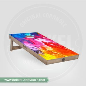 Cornhole board with an abstract print.
