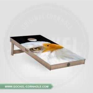 Cornhole board with eagle print.