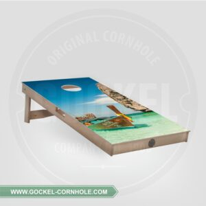 Cornhole Board mit Boot print.