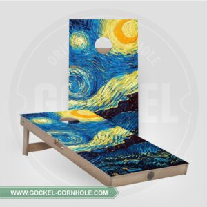 Cornhole boards with starry sky, Vincent van Gogh print.