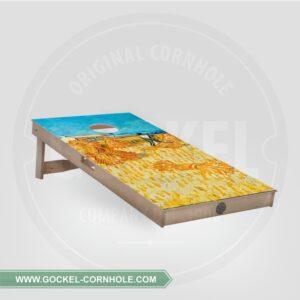 Cornhole board with harvest, Vincent van Gogh print.