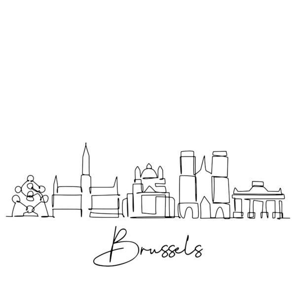 Cornhole sticker - skyline Brussels