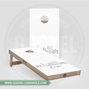 2 Cornhole Boards mit Skyline print von Brüssel!