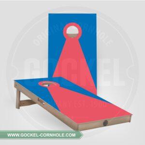 Cornhole Boards - blau rote Pyramide