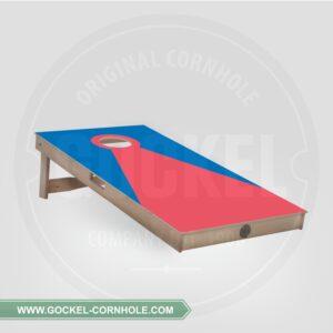 Cornhole Board - blau rote Pyramide