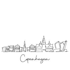 Cornhole sticker - skyline Copenhagen
