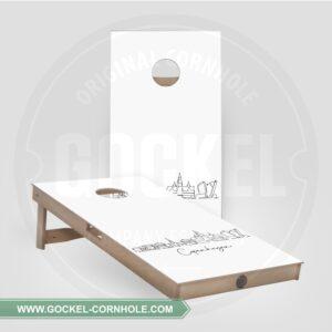 2 Cornhole Boards mit Skyline print von Kopenhagen!
