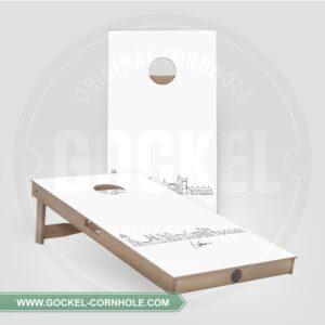 2 Cornhole Boards mit Skyline print von Lissabon!