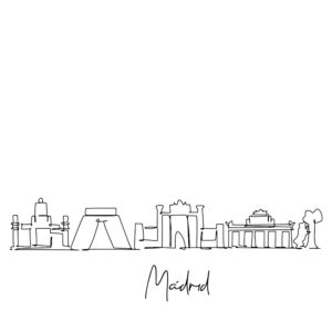 Cornhole sticker - skyline Madrid