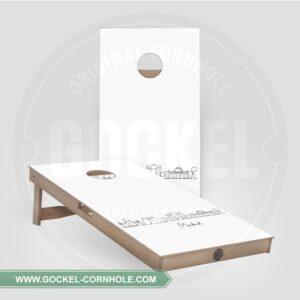 2 Cornhole Boards mit Skyline print von Madrid!