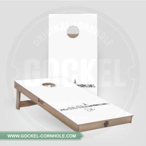 2 Cornhole Boards mit Skyline print von Oslo!