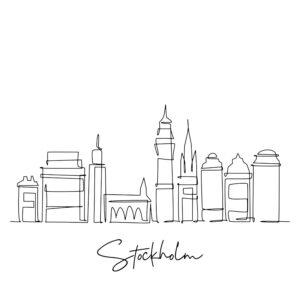 Cornhole sticker - skyline Stockholm