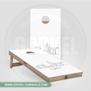 2 Cornhole Boards mit Skyline print von Stockholm!